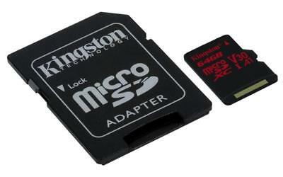 Kingston Canvas React 64GB microSD Memory Card with SD Adapter 64 GB capacity