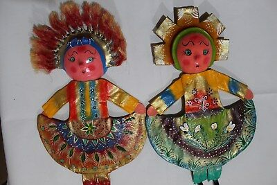 914 DOLLS MEXICAN COCONUT WALL DECOR 2 pzas ARTESANIA muñecas coco FREE SHIPPING