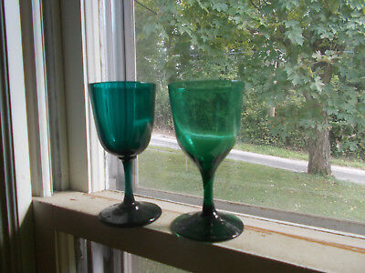 Pair Of Early Pontiled Green Flint Glass Wine Glasses W/applied Footed Bases
