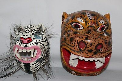 939 WILD TIGERS MEXICAN WOODEN MASKS 2 pzas wall decor HAND CARVED artesania