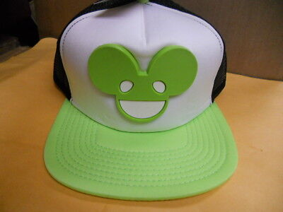 a18ef9f4a44 NWT DEADMAU5 Deadmouse 3-D raised LOGO Neon Green TRUCKER SNAPBACK HAT CAP