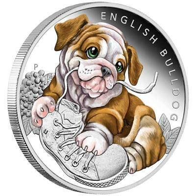 Tuvalu - 50 Cents 2018 - Englische Bulldogge-Hundebabys (4.) - 1/2 Oz Silber PP