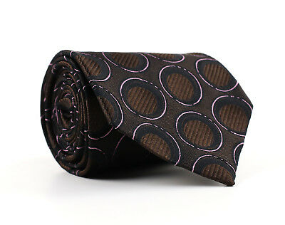 NEW Hugo Boss Silk Necktie Brown w/Black/Pink Geometric Pattern Made in Italy