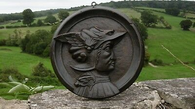 STUNNING 19thc MAHOGANY CARVED PLAQUE OF MERCURY WITH WINGED HELMET  C.1860