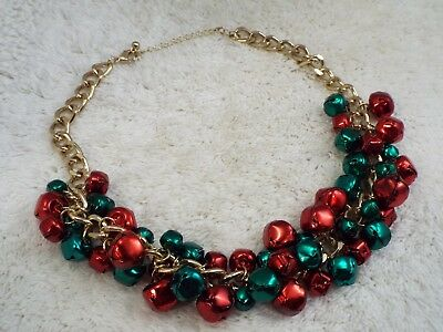 Christmas Jingly Jingle Red Green Bells Goldtone Chain Necklace (A35)
