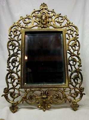 Antique ORNATE CAST IRON EASEL Style FRAME w Original BEVELED GLASS MIRROR