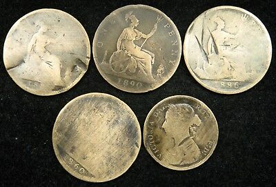 Lot of 6 UK England Great Britain One Penny Half Penny 1860 - 1890