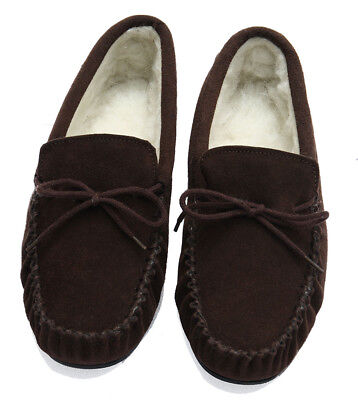 Mens Genuine Suede Moccasin Slippers with Rubber Sole