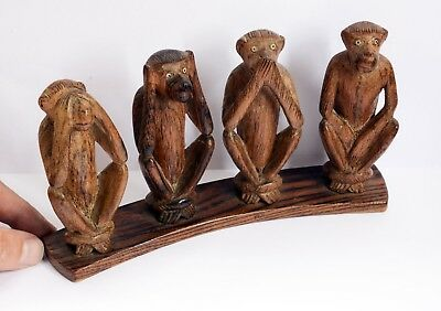 "Beautiful Vintage ""Four Wise Monkeys"" Wooden Hand Carved Ornament. 20.5cm Length"