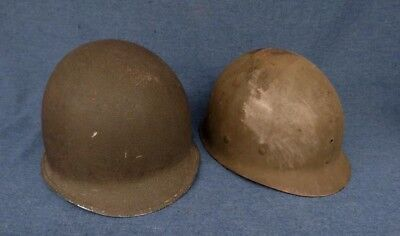 WWII Military US Front Seam Fixed Bale Helmet w/Liner Maybe M1