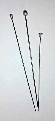 Group of Three 3 Old Vintage / Antique Hat Pins 15.75 cms & 11.9 cms Long