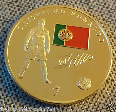 Ronaldo Real Madrid Gold Coin Signed Christiano Portugal World Cup 2018 Juventus