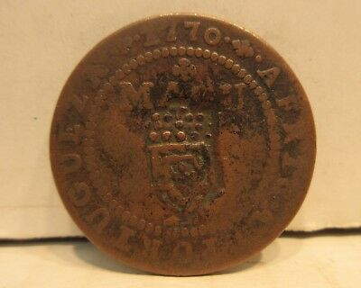 1770 Angola Africa KM12 Macuta Copper Coin Counter Stamped