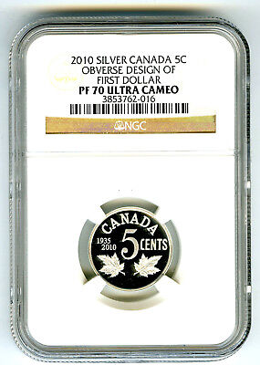 2010 Canada 5 Cent Silver Proof Ngc Pf70 Ucam Obverse Design Of First Dollar