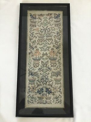 Chinese Silk Floral Forbidden Blind Stitch Embroidery Textile 2 Panels Framed