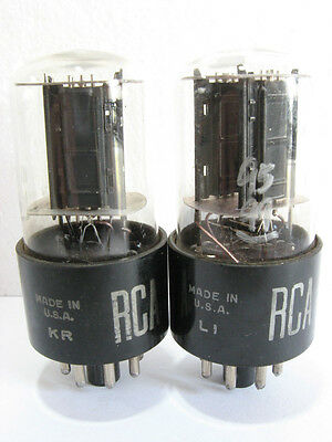 2 matched 1957-59 RCA 6SN7GTB tubes - Black Plates, Bottom [] Getters