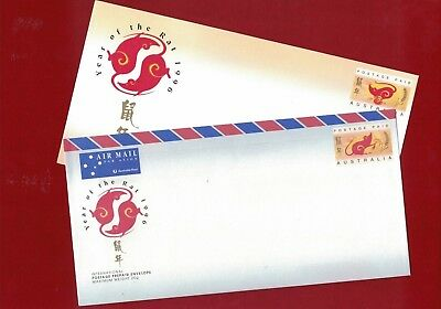 1996 Christmas Island Year of the Rat, 2 x PSE mint covers Rare