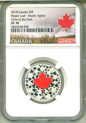 2018 Canada S$5 Hearts Aglow Glow In The Dark NGC SP70 With Mint Packaging OGP