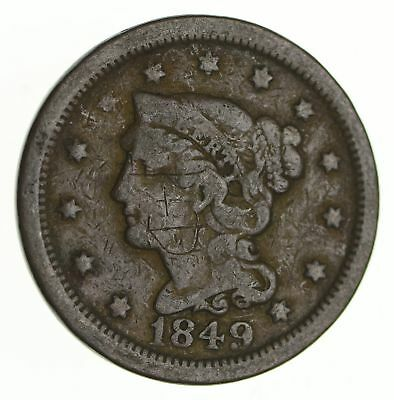 Tough - 1849 Large Cent - US Early Copper Coin *268