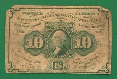 """1863 US Fractional Currency """"TEN CENTS"""" Rough! Old US Paper Money Currency"""