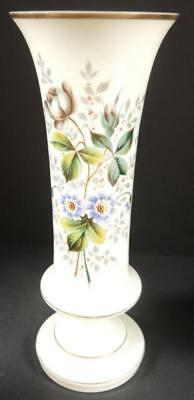 """Antique Hand Painted 11 3/4"""" Tall Bristol Glass Green and Blue Flower Vase"""