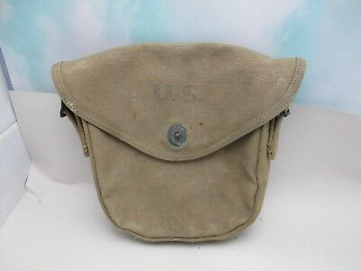 Vintage WWII US CanvasThompson Sub-Machine Gun Ammo Drum Pouch Dated 1942