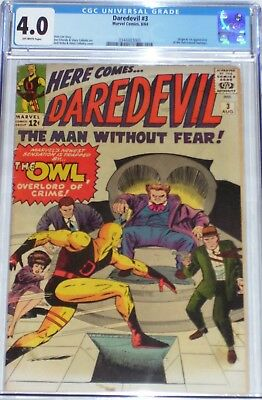 Daredevil #3 CGC graded 4.0 from Aug 1964 Origin & 1st appearance of the Owl