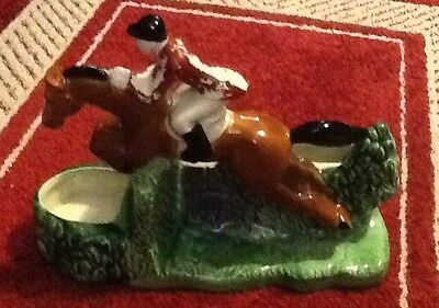 Vintage Ceramic English Rider and Horse Jumping a hedge planter by CCP