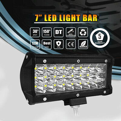 7Inch 360W Led Light Bar Spot Flood Combo Beam Tri Row Suv 4Wd Driving Offroad