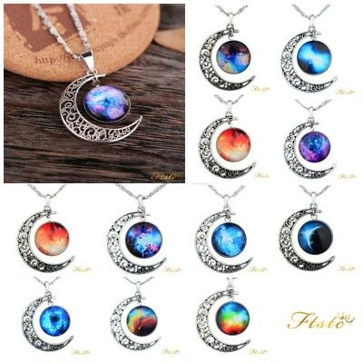 Crescent Moon Galaxy Nebula Space Silver Pendant Necklace Friendship Necklace