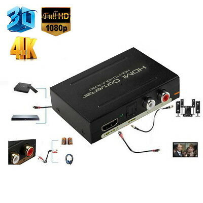 1080P HDMI to SPDIF Optical 4K RCA L/R Analog Audio Extractor Converter Splitter