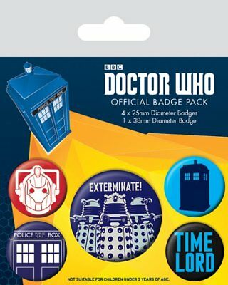 Button Badge 5er Pack DOCTOR WHO - Exterminate!  1x38mm & 4x25mm BP80496