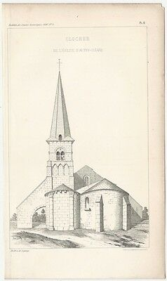 1849 Engraved Plate of Medieval Architectural Details - Romanesque Bell Tower