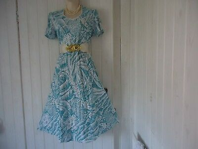 Vintage Jade Green White 1940S 50S Wwii Style Tea Dance Dress Size 14