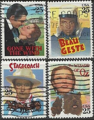 USA 1990 CLASSIC FILMS (4) Wizard of OZ, Gone With The Wind etc Used SG2472-5