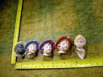 5 x excavated painted doll head age 1860 for mixed media or altered Art 11194