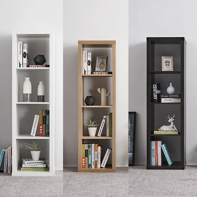 Wooden 4 Tier Storage Display Shelving Unit Bookcase Cabinet Cube Shelves Rack