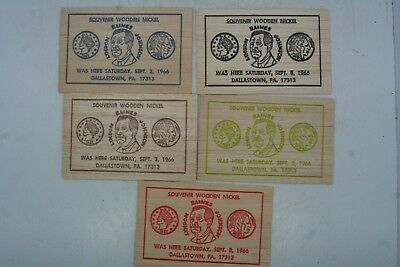 Lot of 5 1967 Dallastown PA Wood Veneer Souvenir Dollar/Nickels