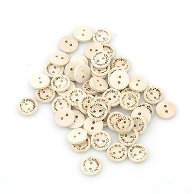 """100x """"Handmade with love"""" Decorative Wooden Buttons 15mm 20mm 25mm/Sewing BS"""