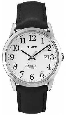 Timex TW2P75600, Men's Easy Reader Black Leather Watch, Indiglo, Date