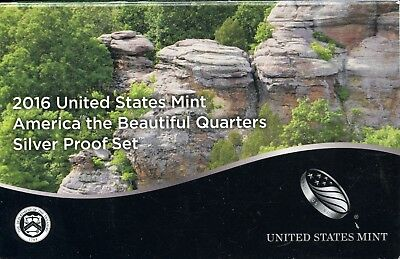 2016-S United States America the Beautiful Quarters Silver Proof Coin Set GA847