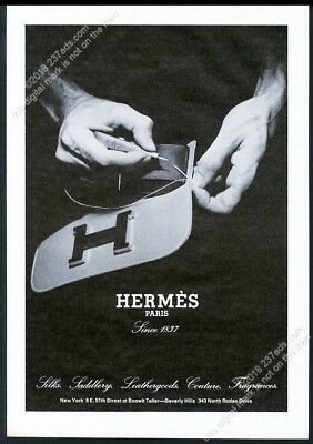 1974 Hermes leather purse being stitched photo vintage print ad