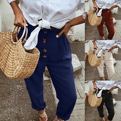 Retro Womens Girls Casual Cropped Pants High Waist Button Trousers Loose Pants