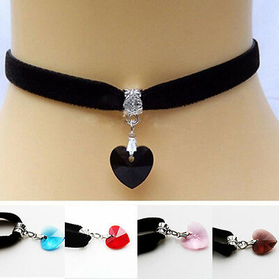 Retro Gothic Handmade Shiny Love Heart Rhinestone Choker Short Necklace Striking