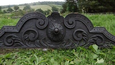 SUPERB 19thc OAK WOOD PEDIMENT WITH SCROLLS & FLOWER CARVED CENTRALLY