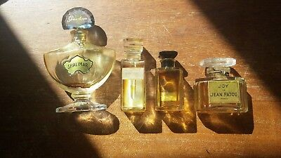 Lot Four Vtg French Perfume Bottles Chanel Guerlain Lentheric Patou BIN BO FS