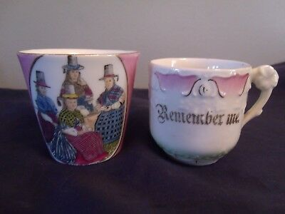 Vintage Lot 2 Porcelain Child Cups Made in Germany Remember Me Has Ornate Handle