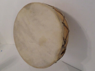 """Native American Indian Style Small Hand Drum 8' x 2""""  c 1960 Wyoming Estate  VGC"""