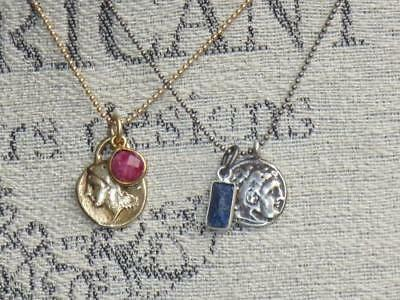 Boho Chic Sterling Greek Coin and Lapis Charm Antique Silver Ball Chain Necklace