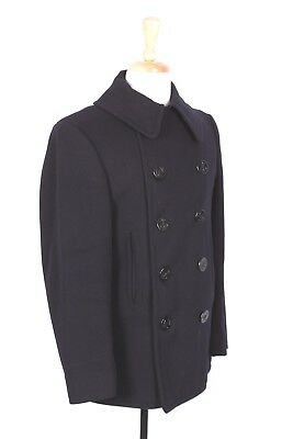 Vtg Wwii Usn Navy Ten Button Wool Peacoat Usa Mens Size 36-38